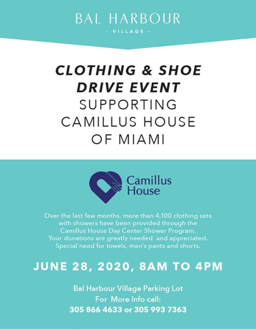 Clothing & Shoe Drive in Support of Camillus House of Miami on June 28, 2020 from 8 am to 4pm at the Village Hall Parking Lot